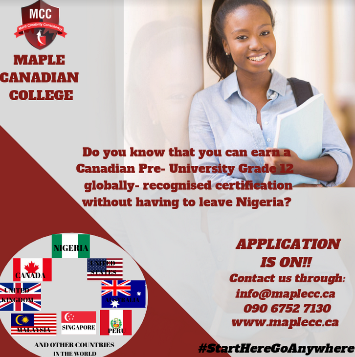 an earn a Canadian Pre- University Grade 12 globally recognised certification without having to leave Nigeria