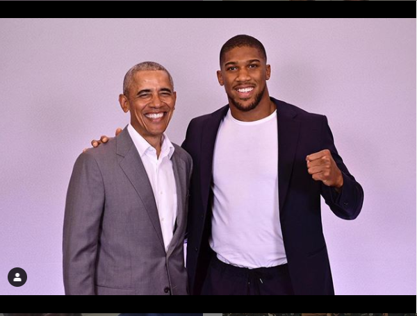 Anthony Joshua meets former US president Barrack Obama