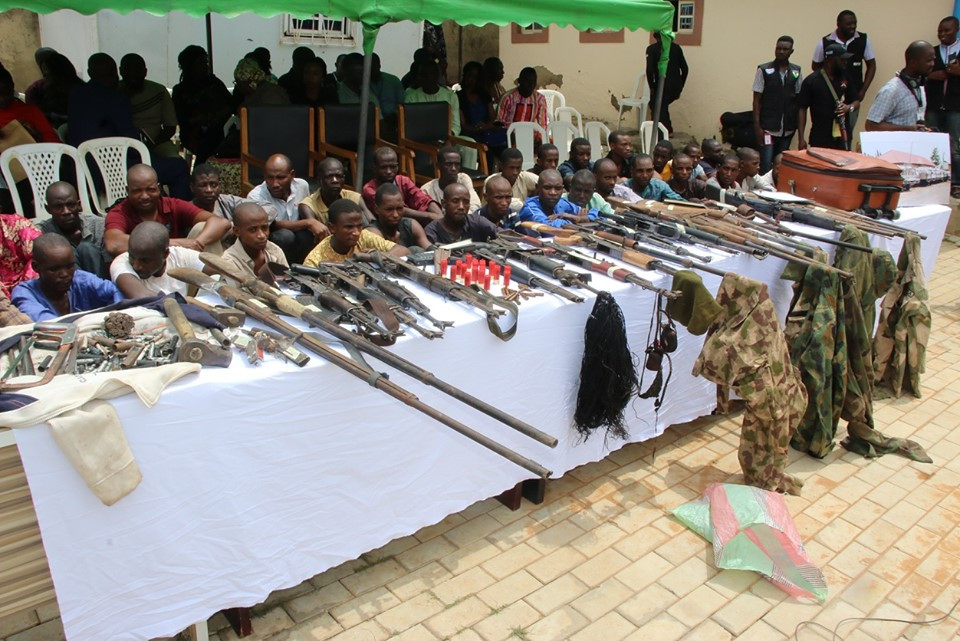 Police recovers 30 firearms, 77 live Ammunition, 160 rustled cattle, 1972 bags of grains and 208 bags of Beans from32kidnap suspects (Photos)