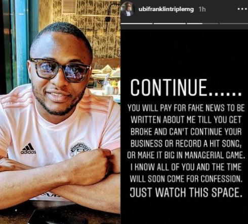 Shot fired! You will continue to pay for fake news to be written about me till you get broke and can't record a hit song - Ubi Franklin