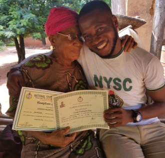 Corps member returns to his village upon receiving his NYSC discharge certificate to thank his mother who sacrificed all for him (photos)