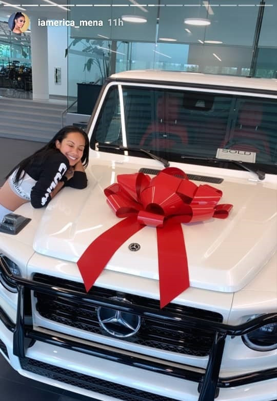 Erica Mena flaunts new G-Wagon gift from fiance Safaree Samuels after accepting him back after his cheating scandal (Photos)