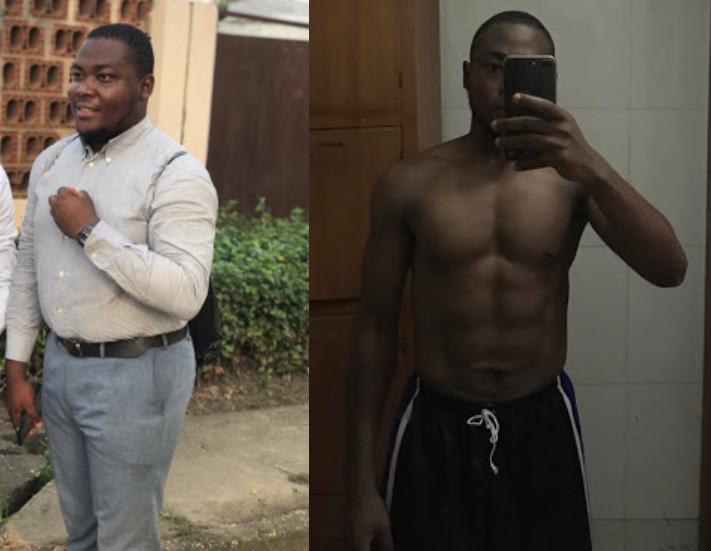 Nigerian man shares inspirational photos of his weightloss journey six months after he started