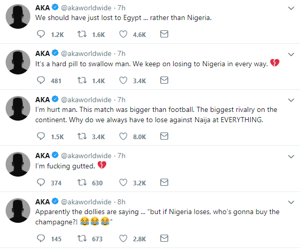AFCON AKA reacts to South Africa's defeat by Nigeria lindaikejisblog 1