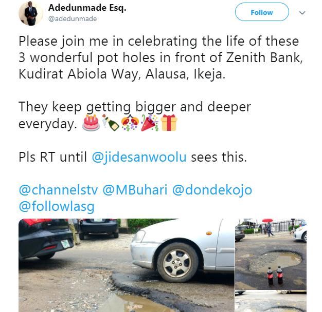 Nigerian lawyer celebrates potholes that keeps expanding with soda lindaikejisblog 1