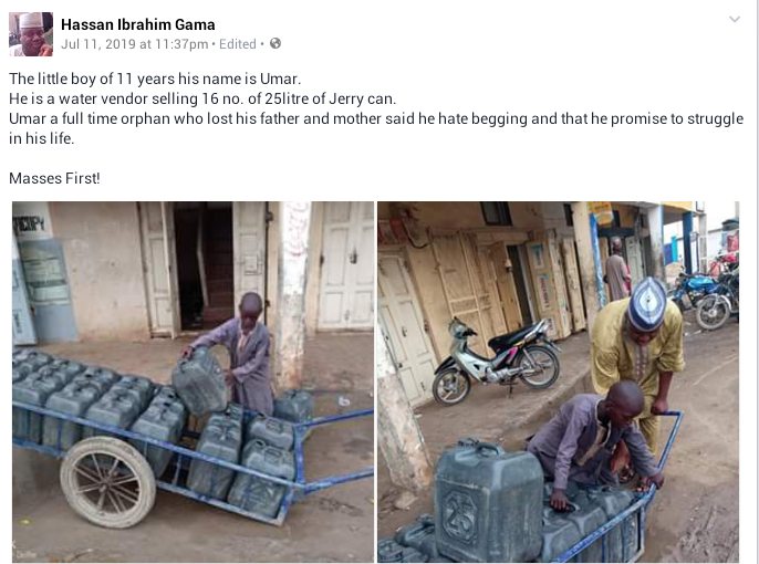 Photos: 11-year-old orphan makes a living in Kano selling water by pushing sixteen 25 litre Jerry cans in a truck. Says he hates begging