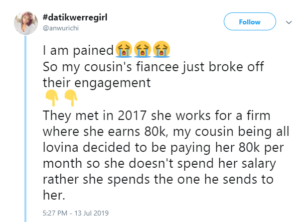 Lady calls out cousin's fiancee who called off their engagement after being paid N80k monthly lindaikejisblog 1
