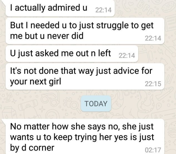 Man shares message an old crush sent to him 14 months after