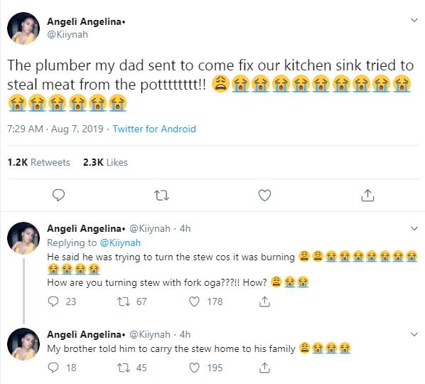 Plumber caught stealing meat from a Nigerian family's pot lindaikejisblog 1