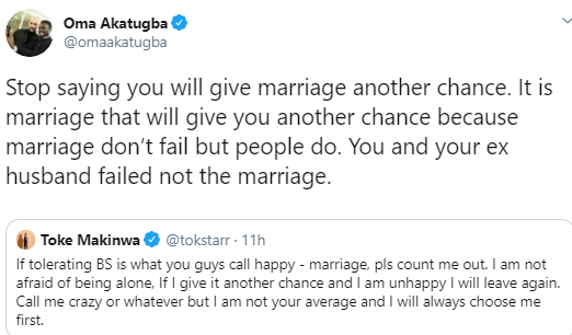 Stop saying you will give marriage another chance, it is