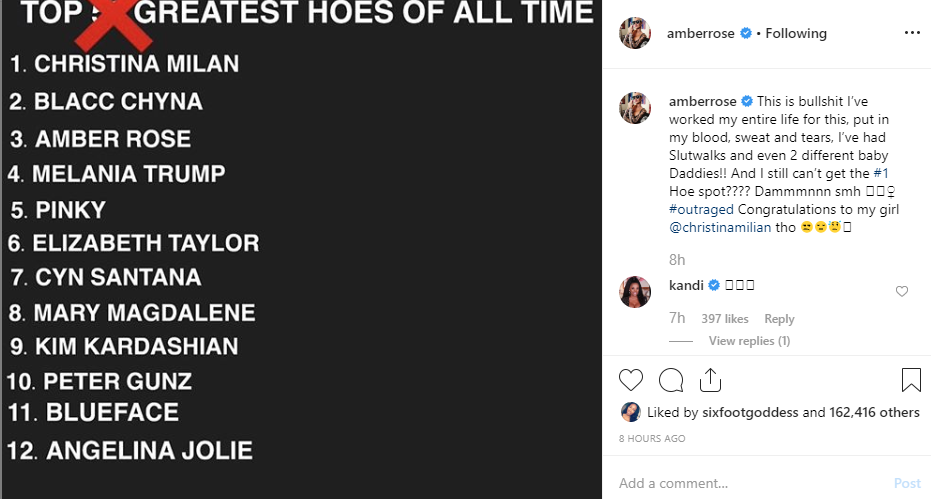 Amber Rose cries out over not getting the number 1 hoe spot in 'greatest hoes of all time' list lindaikejisblog 1