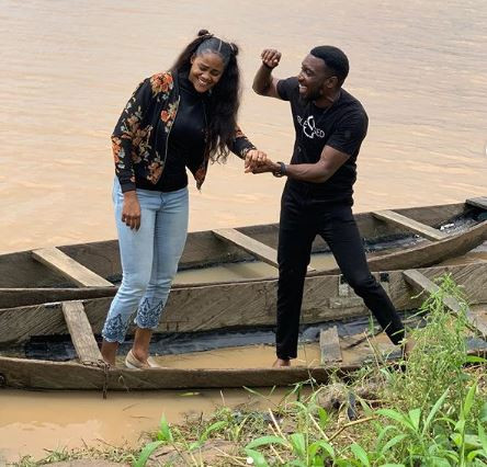 Cute photos of Timi Dakolo and his wife, Busola, enjoying a boat ride in the creeks of Bayelsa