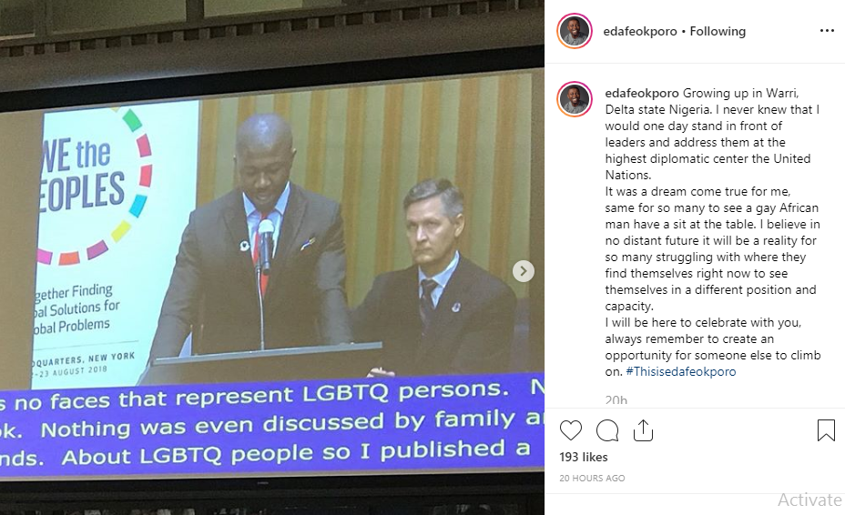 Growing up in Warri, I never knew I will address leaders at the highest diplomatic center in UN - Nigerian gay man, Edafe Okporo lindaikejisblog 1