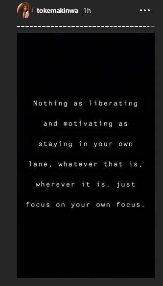 Nothing as liberating and motivating as staying in your lane - Toke Makinwa lindaikejisblog 1