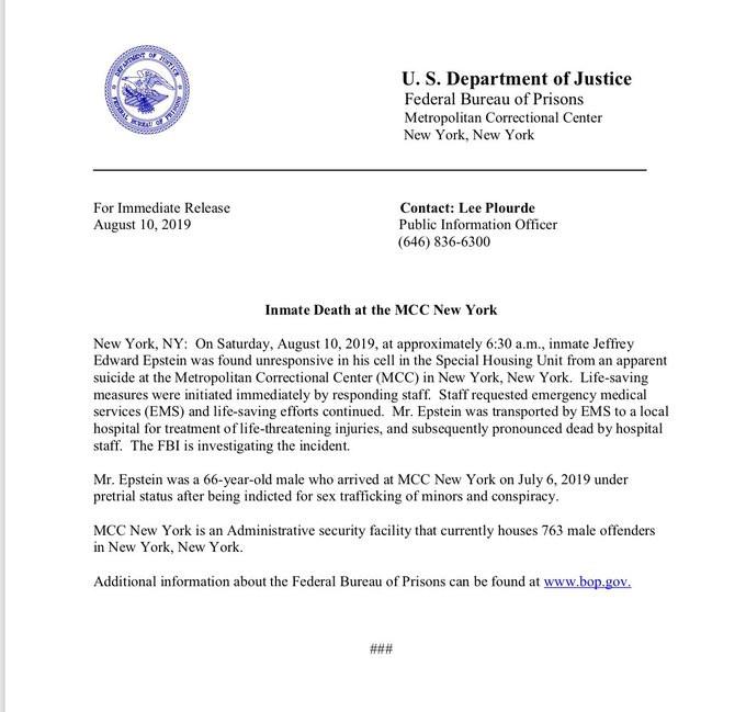FBI investigating  1Epstein's suicide in prison amid suspicion surrounding his death lindaikejisblog
