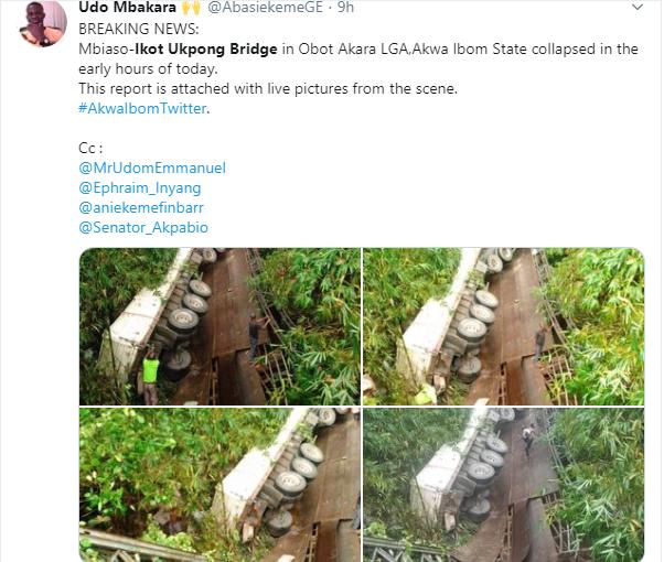 Mbiaso-Ikot Ukpong Bridge in Akwa Ibom State collapses lindaikejisblog 1