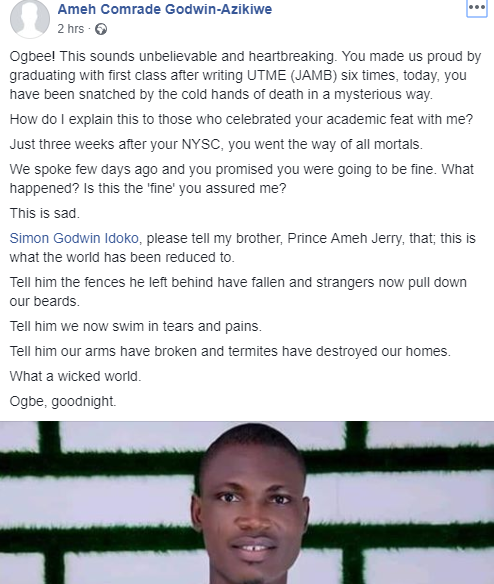 First Class graduate who wrote JAMB six times, dies few days after completing his NYSC lindaikejisblog 1
