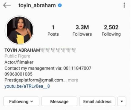 Actress, Toyin Abraham deletes 'ALL' her photos on Instagram