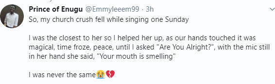 Twitter user narrates the embarrassing thing that happened when he spoke to his crush for the first time