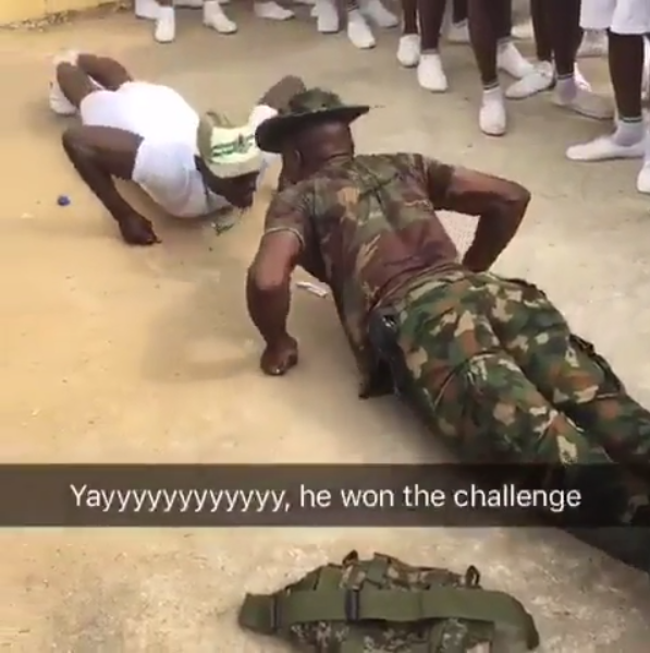 Corps member and soldier got into a push-up competititon and you won't believe who won (video)