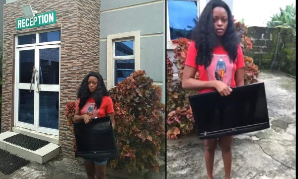 Lady nabbed after she stealing a hotel's plasma TV in Delta lindaikejisblog