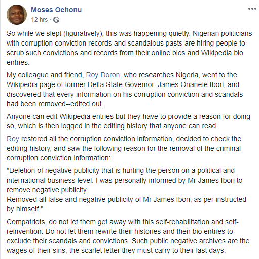 Nigerian Professor calls out Ibori, politicians hiring people to remove their corruption convictions from their online bios and Wikipedia lindaikejisblog 1