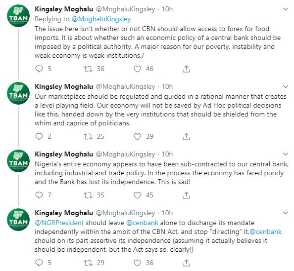 Leave CBN alone Moghalu slams Buharis directive on non-provision of foreign exchange for food importation lindaikejisblog 1
