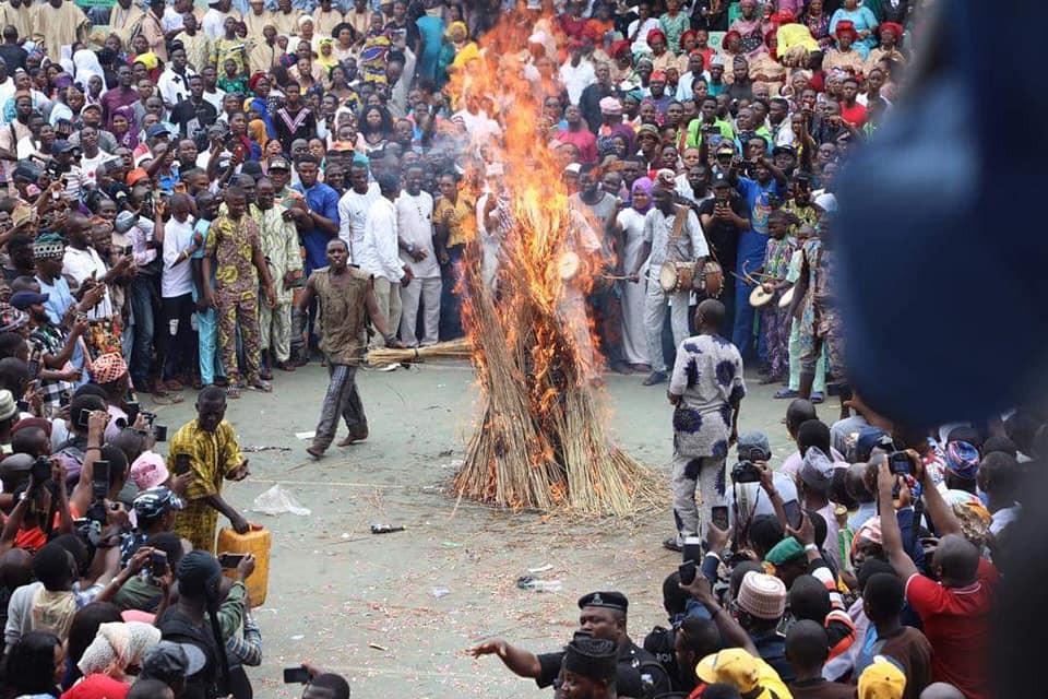 Ogun Masquerade, Danafojura gets burnt at event lindaikejisblog 2