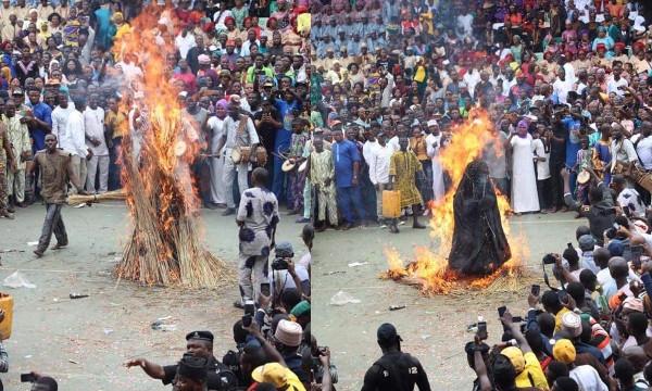 Ogun Masquerade, Danafojura gets burnt at event lindaikejisblog