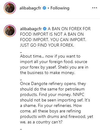 Alibaba supports President Buhari on non-provision of foreign exchange for food importation lindaikejisblog 1