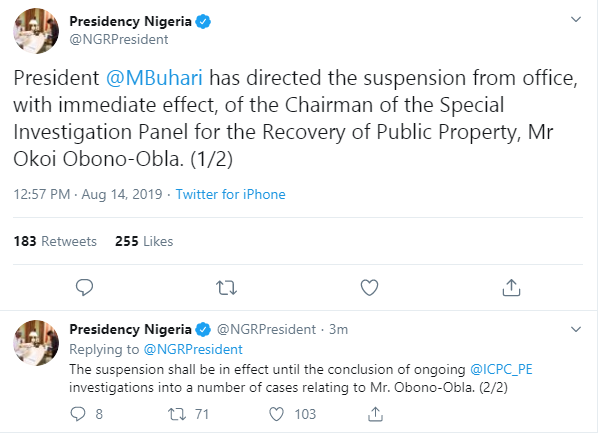 Buhari suspends Chairman of Special Investigation Panel,  Obono-Obla lindaikejisblog 1