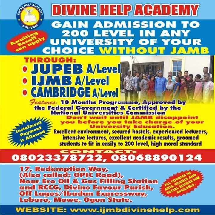 Gain University Admission into 200L Using IJMB or JUPEB