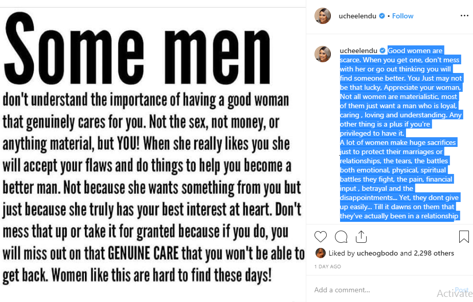 Good women are scarce, don't hurry out of marriage - Uche Elendu tells Men lindaikejisblog 1