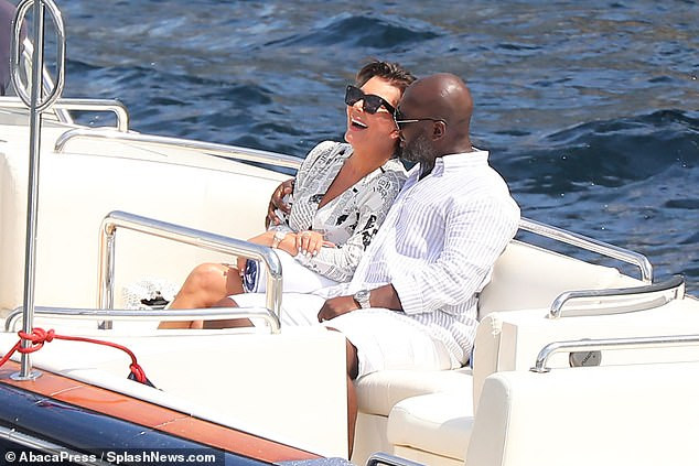 Kris Jenner, 63, cosies up to her beau Corey Gamble, 38, as they enjoy a boat ride in Monaco