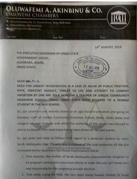 CRS teacher allegedly impregnates 15-year-old student in Ondo lindaikejisblog 1