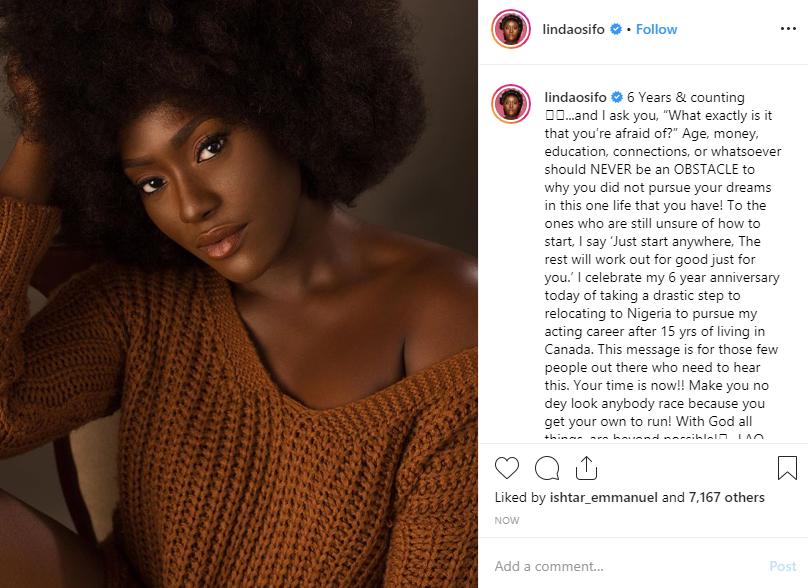 Linda Osifo celebrates 6th year of leaving Canada to pursue an acting career in Nigeria lindaikejisblog 1
