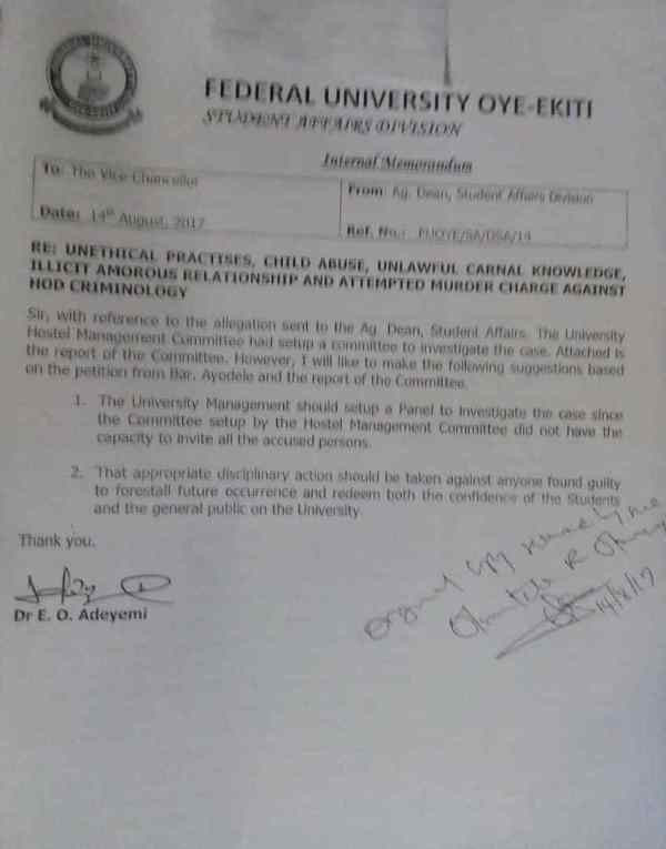 Federal University Oye-Ekiti Professor impregnates 16-year-old student lindaikejisblog 1