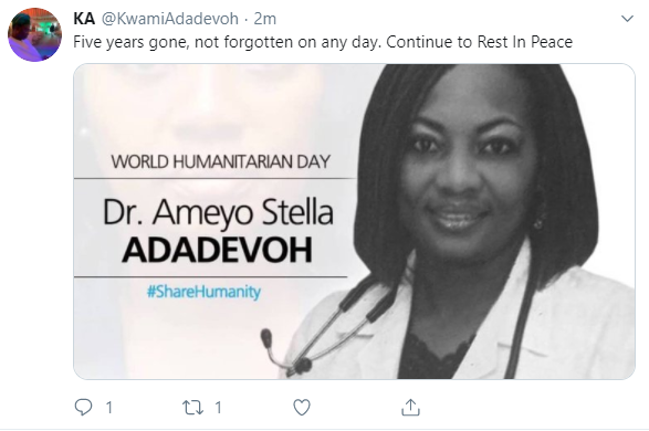 """Not forgotten on any day"" Kwami Adadevoh remembers Dr. Stella Ameyo Adadevoh on the 5th anniversary of her passing"