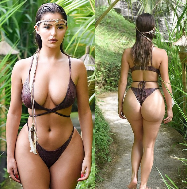 Demi Rose flaunts her incredible curves in skimpy snakeskin bikini as she poses in Bali jungle. (Photos)