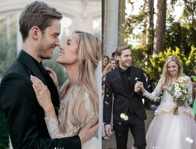 YouTuber PewDiePie marries social media star Marzia Bisognin in a stunning London ceremony (Photos)
