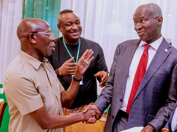 Caption this new photo of Fashola, Keyamo and Oshiomhole