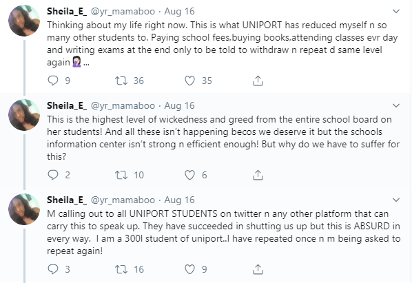 UNIPORT students cry out after being asked to repeat a level over over inability to register courses online lindaikejisblog 1