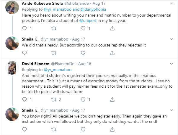 UNIPORT students cry out after being asked to repeat a level over over inability to register courses online lindaikejisblog 5