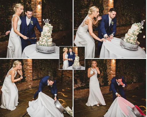 Newlyweds look on in horror as their wedding cake collapse during cutting ceremony (Photos)