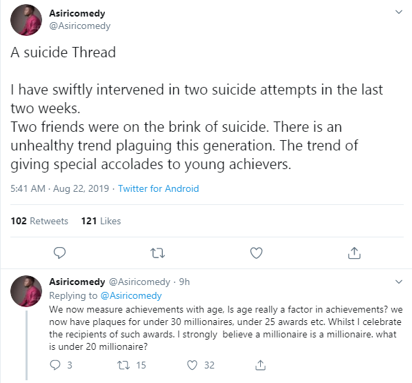 I have intervened in two suicide attempts in the last two weeks - Asiri Comedy lindaikejisblog 1