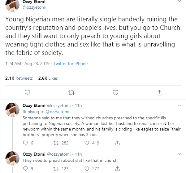 Young Nigerian men are single-handedly ruining the countrys reputation and lives - Feminist, Ozzy Etomi lindaikejisblog `