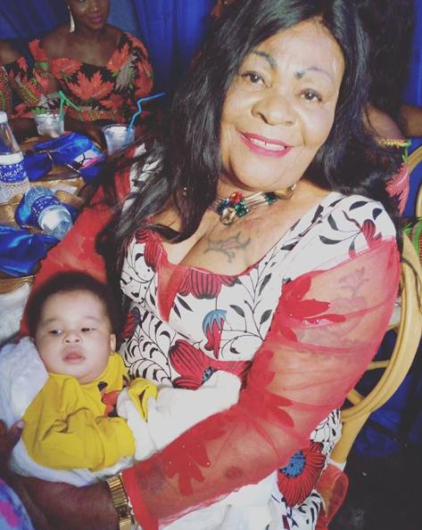 Photo of Nkechi Blessing Sunday's mum and her grandson lindaikejisblog 1