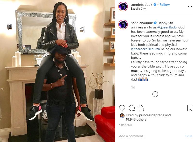 Gospel Singer, Sonnie Badu shares loved up photo with his wife on 5th wedding anniversary lindaikejisblog 1
