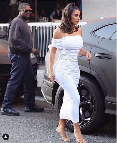 Kim Kardashian shares sweet photo of her husband Kanye West checking her out.