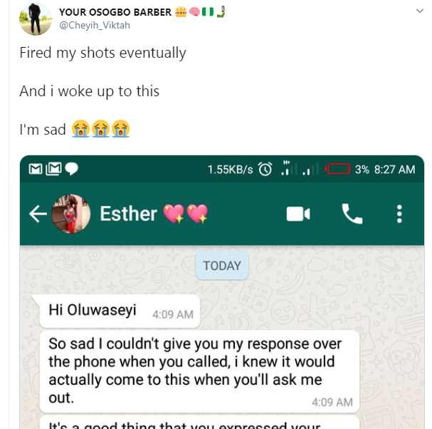 Corps member shares rejection chat he got from an undergraduate he asked out lindaikejisblog 1